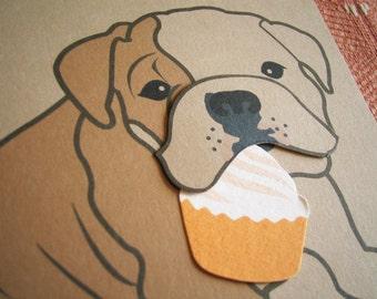 Boris the English Bulldog Happy Birthday Cupcake Blank Note Card with Envelope