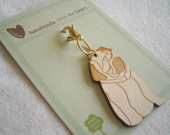 Mimi the Pug Wooden Engraved Keychain Zipper Pull with Card Packaging