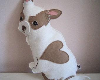 Billie Jean the Chihuahua Dog Wool Felt Applique Plush Doll Pillow