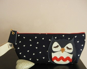 Susie the Owl Navy Blue and White Heart Print Cotton Canvas Carry All Case Vinyl Applique