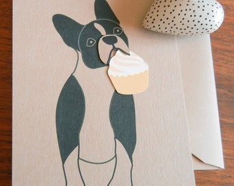 Lola the Boston Terrier Cupcake Thank You Blank Note Card with Envelope