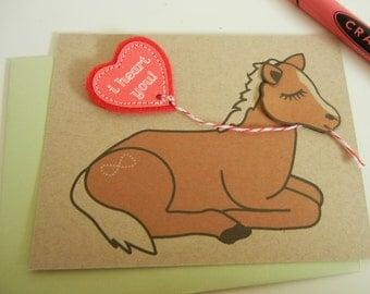 Valentine Zazi the Miniature Pony Horse Happy Valentine's Day Heart Balloon Note Card with Envelope