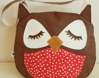 Stewart the Owl Red Polka Dot Belly Applique Canvas Tote Purse Handbag Shoulder bag