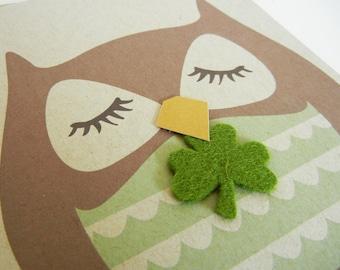 Good Luck Stewart the Owl Felt 3 Leaf Clover Note Card with Envelope