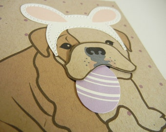 Boris the Easter Bunny English Bulldog Purple Spring Easter Note Card Paper Applique Egg with Envelope