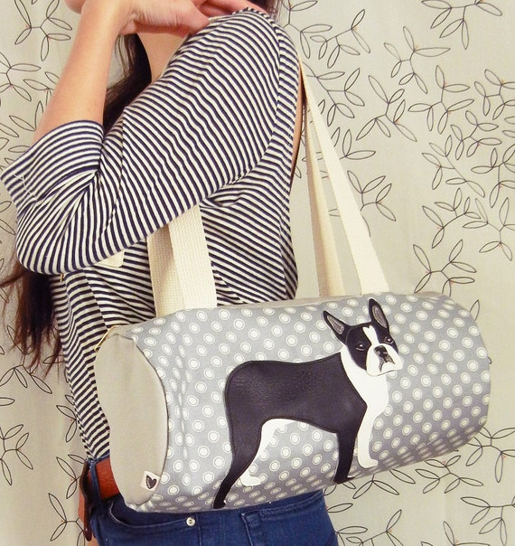 Lola the Boston Terrier Grey White Japanese Dots Vintage Inspired Cotton Canvas Duffel Tote Bag Purse with Vinyl Applique