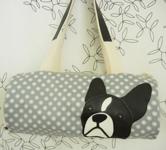 Lola the Boston Terrier Grey White Japanese Dots Vintage Inspired Cotton Canvas Duffel Tote Bag Purse with Vinyl Applique RESERVED FOR CINDY
