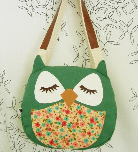 Wendy the Owl Applique Canvas Tote Purse Handbag Shoulder bag