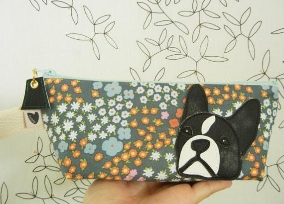 Lola the Boston Terrier Grey Multi Floral Cotton Canvas Case with Vinyl Applique