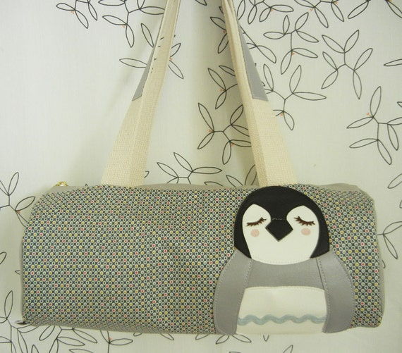 Nikki the Penguin Grey Multi Polka Dots Vintage Inspired Cotton Canvas Duffel Tote Bag Purse with Vinyl Applique