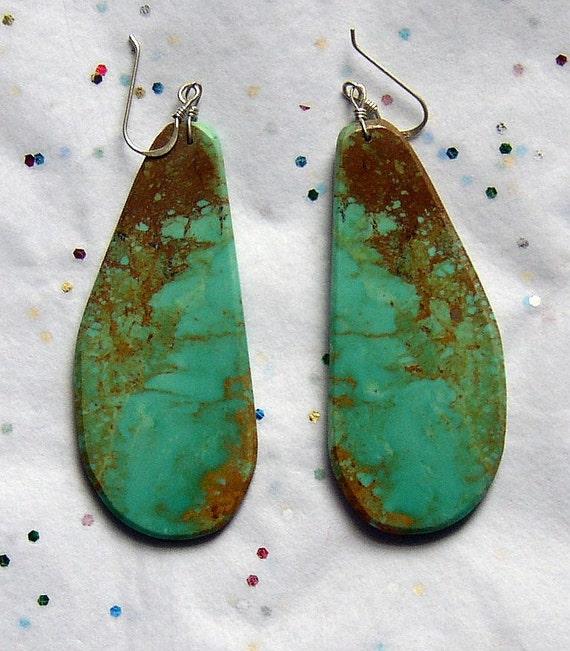 Turquoise Slab Earrings