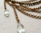 Gold-toned chain with olive pearls and green amethyst necklace