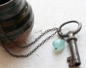 Little key necklace with blue chalcedony