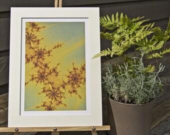 Fire Rose, Matted Fractal Print