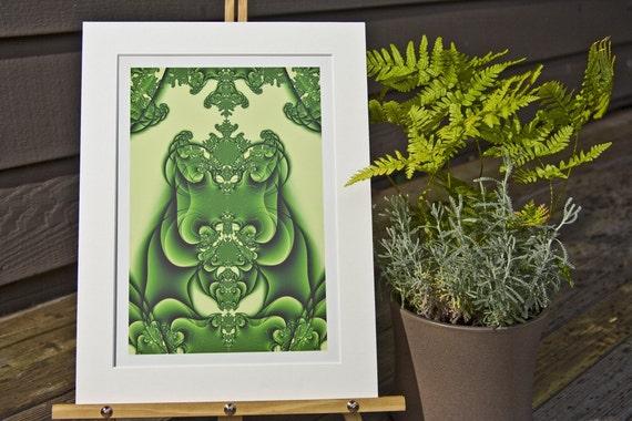 Green Goddess, Matted Fractal Print
