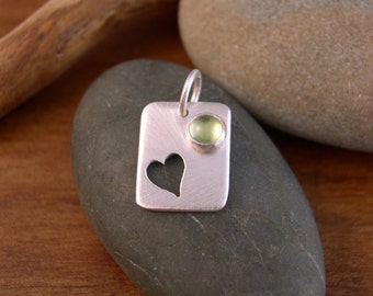 Heart Pendant with Peridot -  Reserved