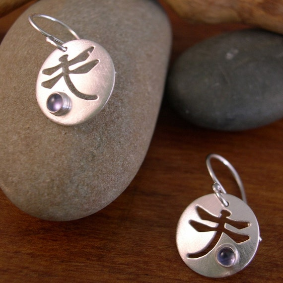 Dragonfly round earrings with Iolite