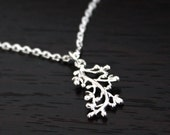 Sterling Silver Berry Branch Charm Necklace