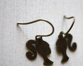 Little Silhouette Barbie Girl Earrings. Barbie Charm Earrings. Gift for Her. Gift for Teen Girls. Antique Blass Plated.