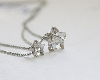 Mom and Baby Stars Swarovski Crystal Necklaces Set. Mother and Daughter necklace. Tiny Star Necklace. Silver Shade AB. Gift for Her.