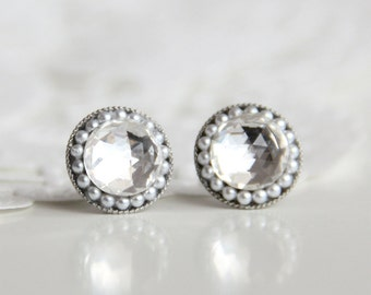 Retro Vintage Style Luxury Swarovski Crystal Stud Earrings 10mm. Sophisticated post earrings for Her. Luxe Gift for Mom.