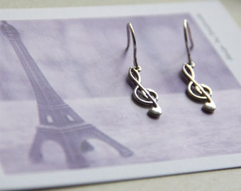 Silver Treble Clef Earrings. Sterling Silver Earrings Wire. Silver Music Notes Charm Earrings. Piano Note. Treble Clef Jewelry Musician Gift