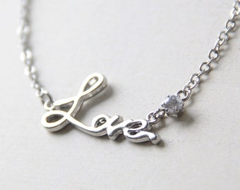 LOVE Necklace. Silver Love Word Necklace with Rhinestone Crystal. A Romantic Christmas Gift for Her.