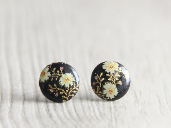 LAST 2 pairs. Japan Kimono Black Flower Stud Earrings. Surgical Steel Earrings Post. Gift for Her. Gift for Mom