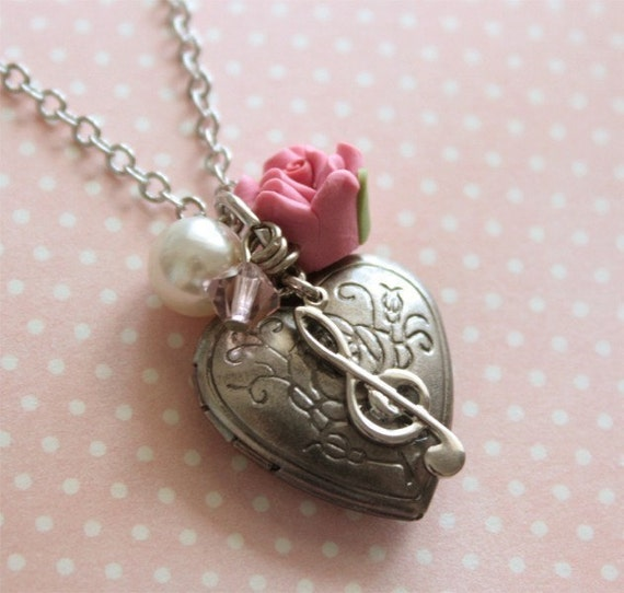 Antique Silver Rose Heart Locket Musical Charm Necklace