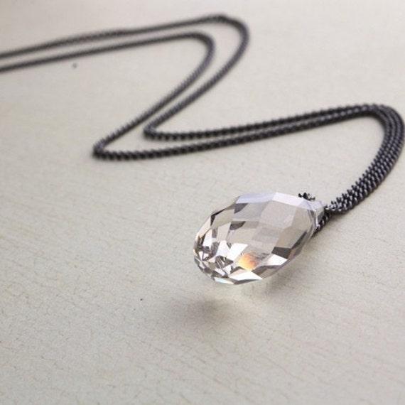 Swarovski Crystal Drop Long Layering Necklace. Layering Jewelry. Minimal Necklace.  Layered Necklace. Simple Necklace. gunmetal necklace