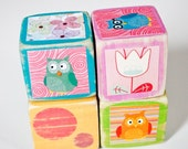 four wooden collage owl baby blocks