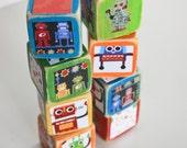 set of eight wooden robot collage baby blocks ooak