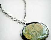 Wanderlust Sterling Silver Pendants - Antique World Maps in Oversized Genuine Handmade Settings