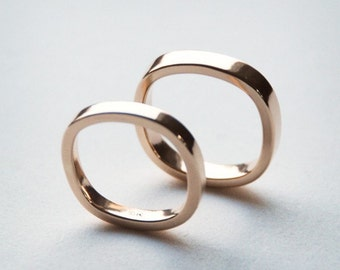 Recycled Gold Modern Square Band - Yellow Gold, Palladium White Gold, or Rose Gold