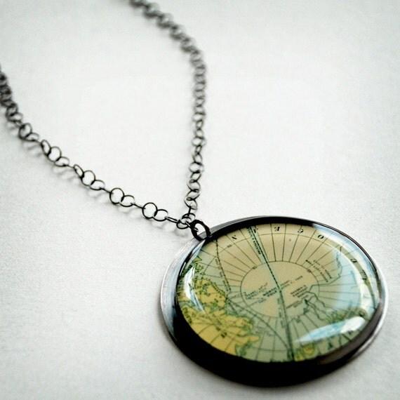 CUSTOM Wanderlust Recycled Sterling Silver Pendant - Antique Map in Oversized Genuine Handmade Settings