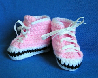 Baby High Top Sneaker Booties Light Pink Size 0 to 3 months