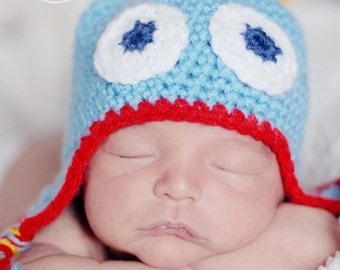 Baby Photography Prop  Blue, Red and Yellow Newborn Monster Hat