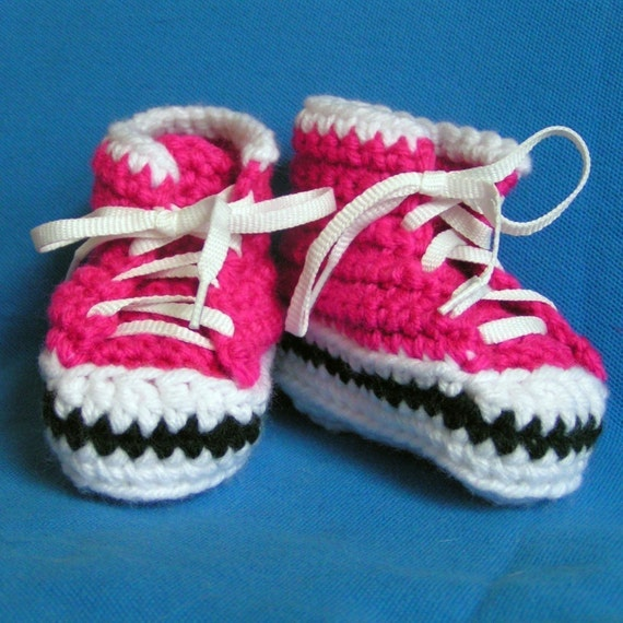 Baby  Sneaker  Booties in Hot PInk Size 0-3 months