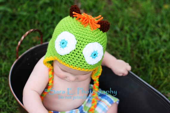 Green  Monster Hat  for Baby 3 to 6 months Hand crochet Ready to ship