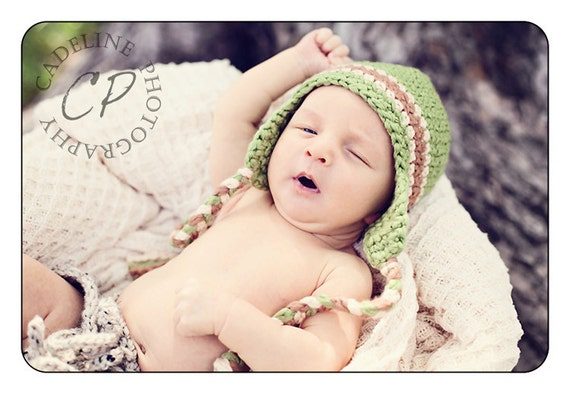 Organic Cotton  Earflap Hat for Baby Hand Crochet - you choose colors and size