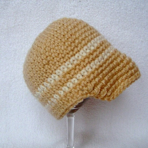 Crochet Baby Hat  Tan and Cream Visor Beanie for Baby, 3-6 months Photography Prop ON SALE
