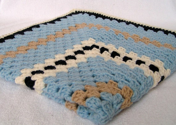 Baby Boy Blanket Hand Crochet Granny Square Afghan Light Blue, Navy, Tan and Cream Ready to Ship