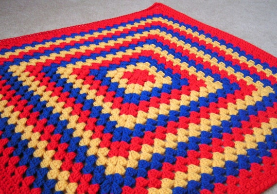 ON SALE Granny Square Baby Blanket  Photo Prop Hand Crochet Red, Yellow and Blue Ready to Ship