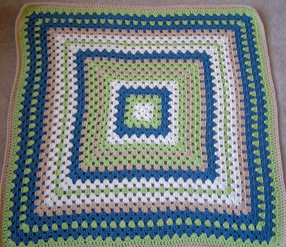 ON SALE Baby Boy Blanket Hand Crochet Granny Square Afghan Green  Blue, Tan and Cream