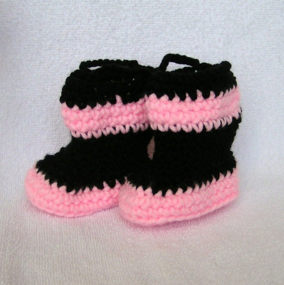 Baby Girl Firefighter Booties Size 0-3 months Pink and Black Ready to Ship