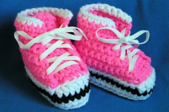 High Top Sneaker  Booties in Bright Pink Size 0-3 months ready to ship
