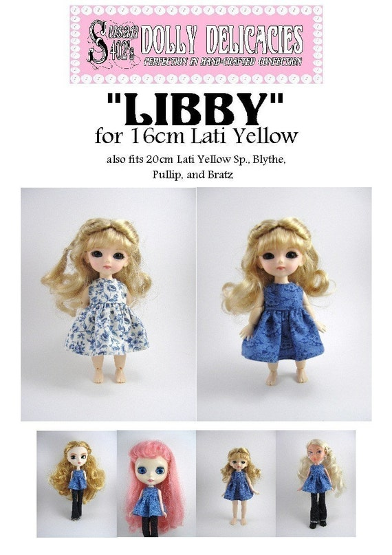 Dolly Delicacies Sewing Pattern for 16cm Lati Yellow Libby Dress PDF Download