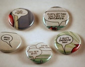 Comic dialogue one inch pinback button badges