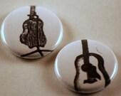 Original Art Acoustic Guitar one inch pinback button badges