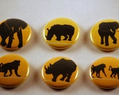 African animal one inch pinback button badges